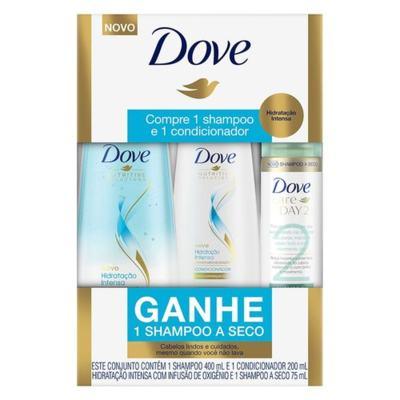 Kit Dove Shampo + Condicionador Hidratação Intensa - Lindos E Cuidados | 400/200ml | Gratis1 Shampoo A Seco