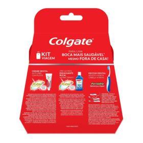 Kit de Higiene bucal para Viagem Colgate - 3 itens | Escova Dental + Creme Dental 30g + Enxaguante Bucal 60mL