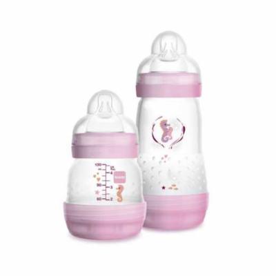 Kit Mamadeira Mam Easy Start - 0+ meses, rosa   com capacidade de 130mL + 260mL cada