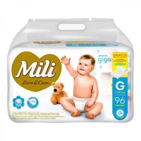 Fralda Mili Love&Care Giga - Tamanho G   Com 96 Unidades