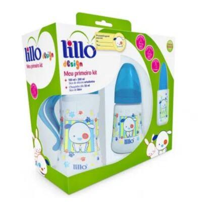 Kit de Mamadeiras Lillo Design - Meu Primeiro, cor azul | 3 unidades | 300mL + 180mL + 50mL