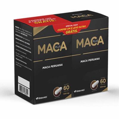 KIT Maca Plus Special Pack Herbamed - 1 KIT   caixa 60 Cápsulas + 60 Cápsulas Grátis