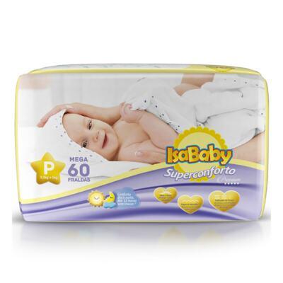 IsaBaby Fralda Descartável Premium Mega - P | 60 unidades