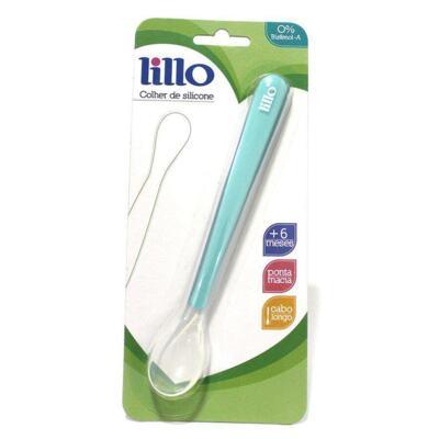 Colher de Silicone Com Cabo Longo Lillo - Azul   1 Unidade