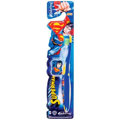 Escova Dental Superman Jadefrog - azul e amarela | 1 unidade | + capa protetora, grátis
