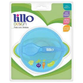 Prato com Ventosa Design Lillo - Azul e Verde | 1 unidade