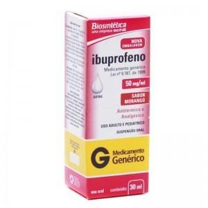 Ibuprofeno 50mg Gotas Suspensão Oral 30ml Generico Biosintética
