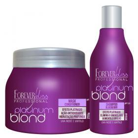 Kit Shampoo + Máscara Matizadora Forever Liss Professional Platinum Blond - Kit