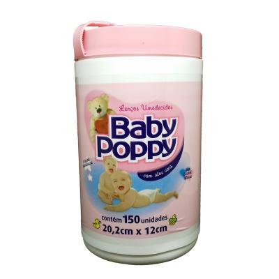 Lenço Umedecido Baby Poppy Rosa 150 Unidades